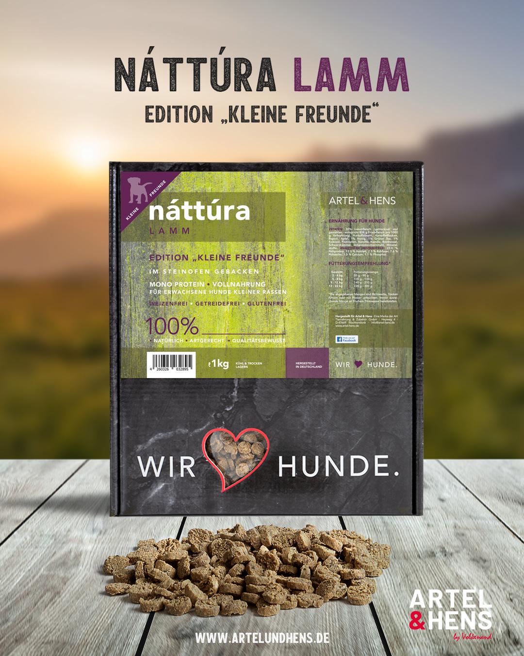 Artel & Hens Trockenfutter - Náttúra - kleine Freunde - Lamm